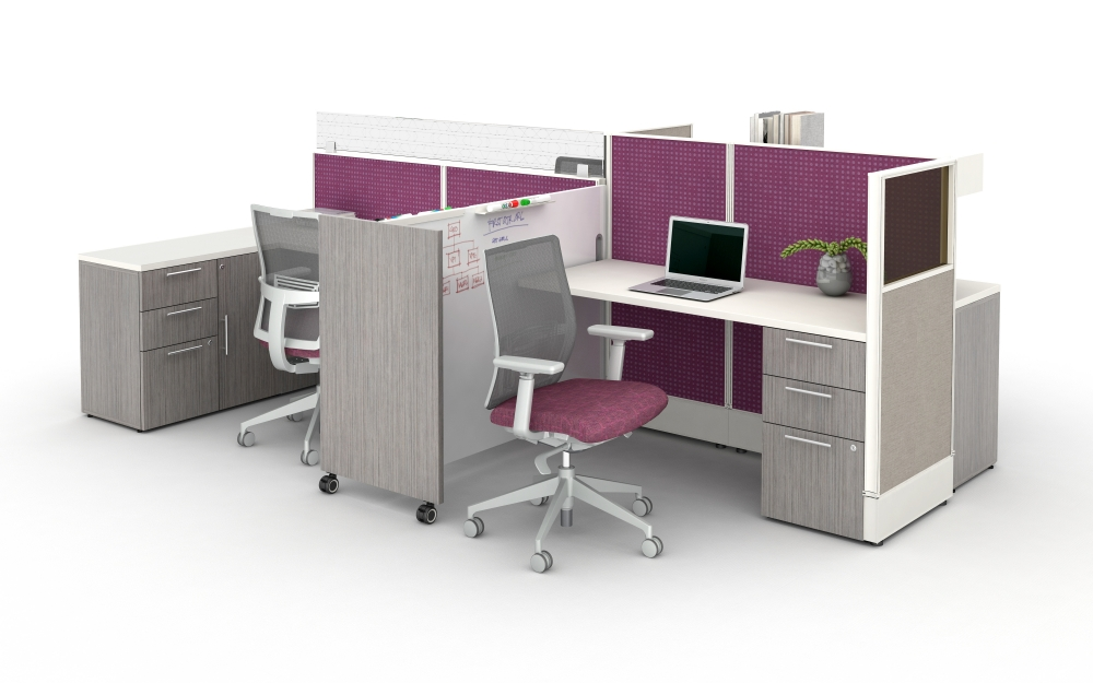Preview of Divi Open Plan Workstations with Custom Mobile Whiteboard and Calibrate Storage.  Shown with Devens Task Seating.