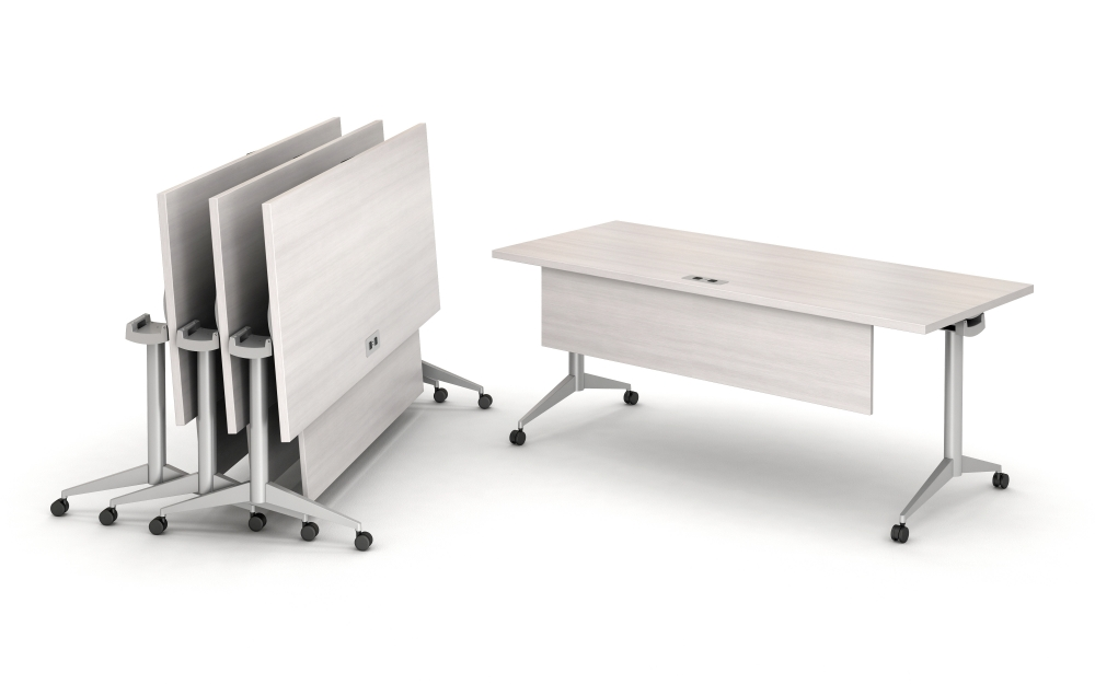 Preview of Day to Day Fliip Top Tables with T-Legs and Casters, Nested together and featuring the Modesty Panel