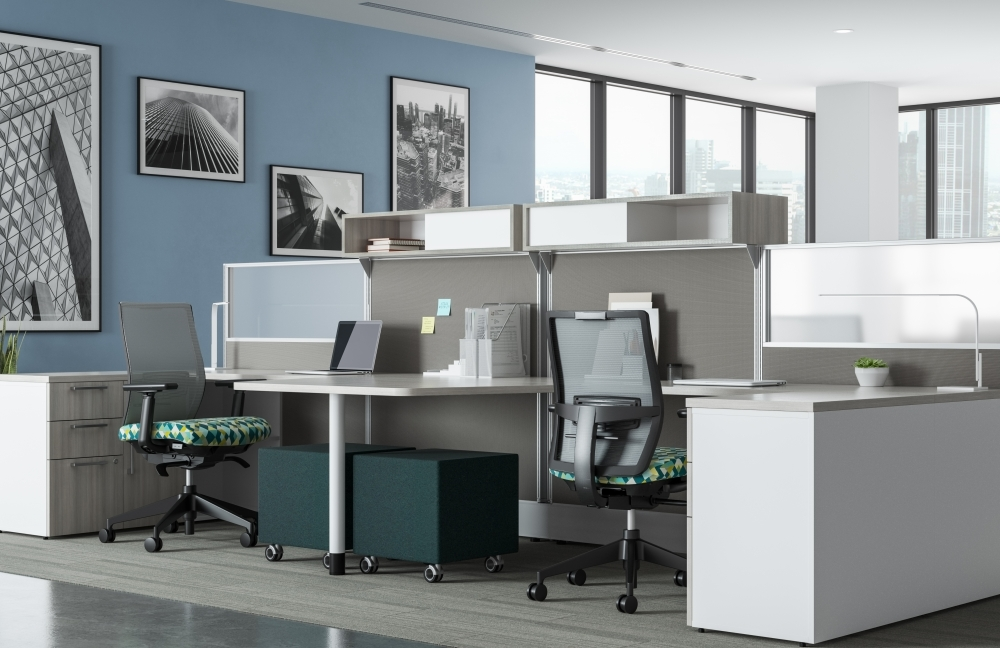 Preview of Divi Open Plan Workstations, keytop worksurface, Lim Light, with Devens Task Seating