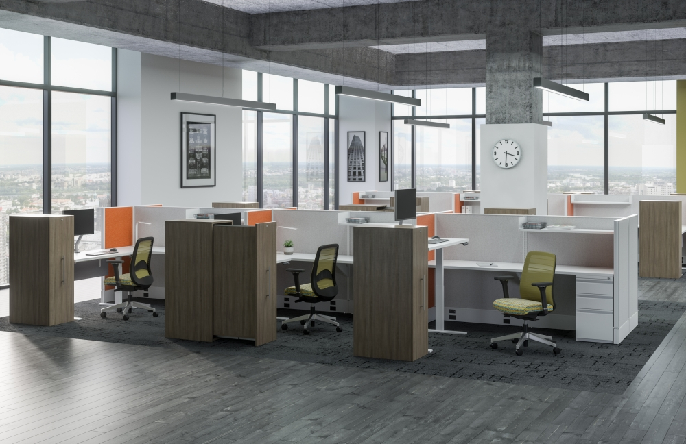 Preview of Divi Open Plan Stations with Height Adjustable Tables, Calibrate Pullout Storage and Bolton Seating
