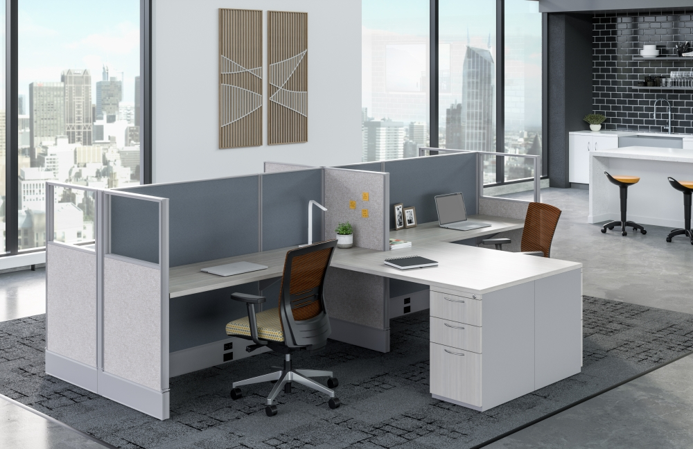 Preview of Divi Open Plan Panel System Shared Workstations with Upton Seating and Rutland Stools in background