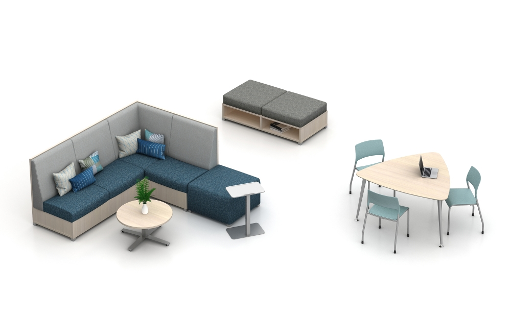 "Preview of LB Lounge with 50"" Back, Ottoman and LB Backless with open base."