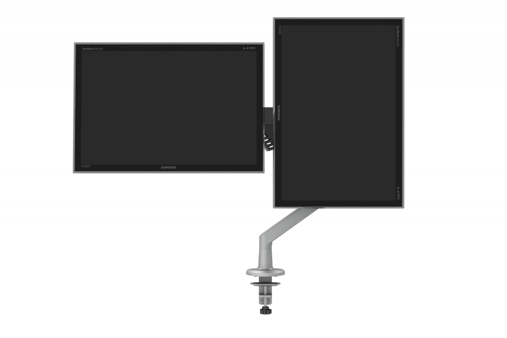 Preview of Dual Monitor Arm for Shallow Depth Worksurfaces, landscape and portrait monitors
