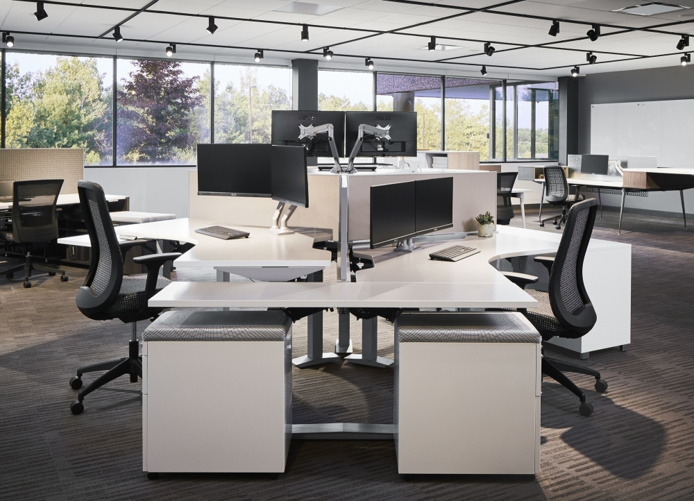 Preview of Aloft 120 Degree Benching Workstations with Bolton Task Seating