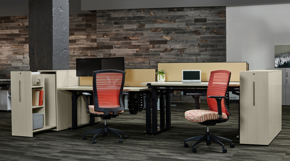 Preview of Aloft Benching Workstation with Calibrate Pullout Storage