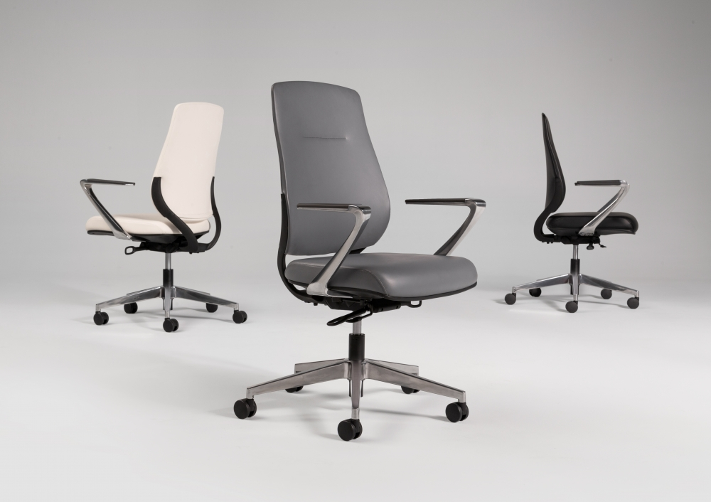 Preview of Auburn Conference/Executive Chairs in three color options of Ivory, Grey and Black Polyurethane
