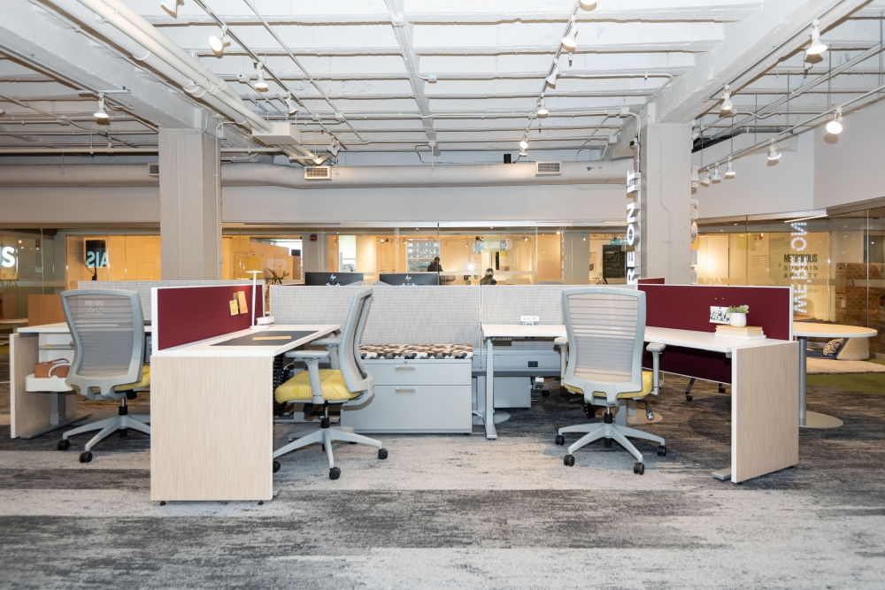 Preview of NeoCon 2021 Day-to-Day PowerBeam with height adjustable tables, L Series Steel storage, Disc base table and Natick Seating