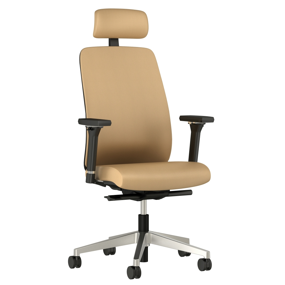Preview of Bolton High Back with Aluminum Base, Headrest, 3D Arms, Fully Upholstered in Wellesley Quarry Polyurethane, 3/4 View