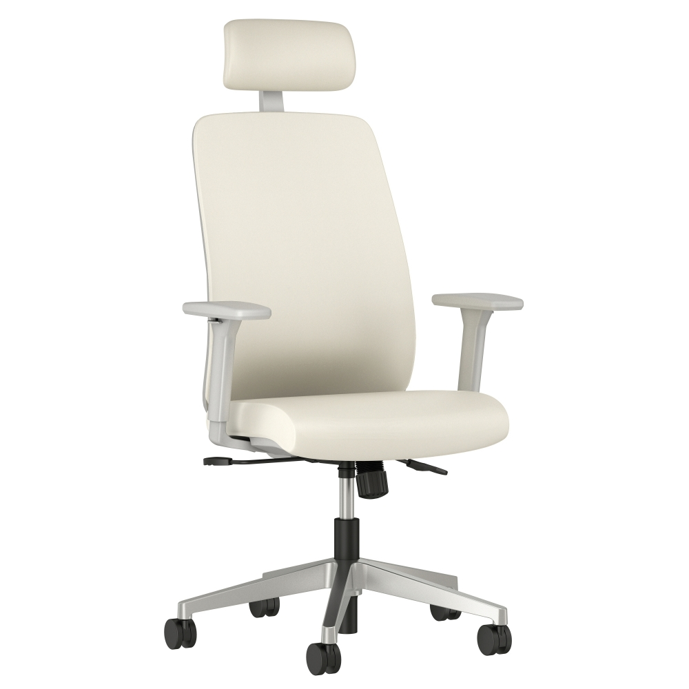 Preview of Bolton High Back with Aluminum Base, Headrest, Lumbar, 3D Arms, Fully Upholstered in Wellesley Snow Polyurethane, 3/4 View