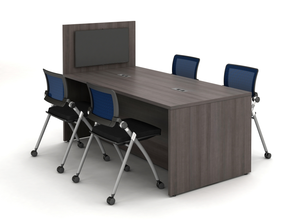 Preview of Calibrate Series Flush End Panel Conference Table, with extension for monitor mounting, power incorporated, with Stow Seating