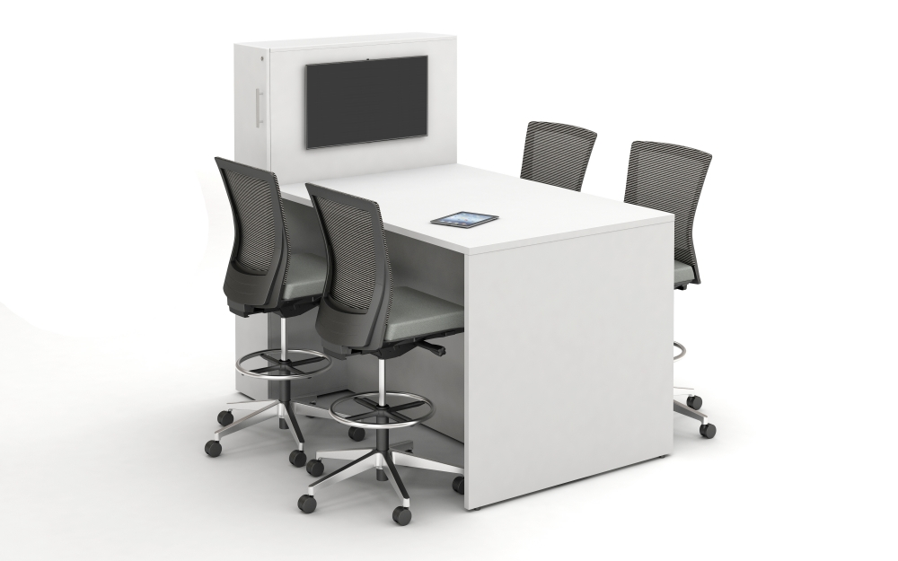 Preview of Calibrate Conferencing Standing Height Table with Locker incorporated Panel End ideal for monitor mounting;shown with Upton Stools