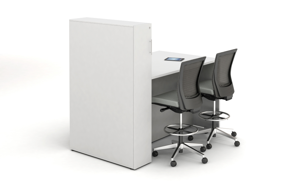 Preview of Calibrate Conferencing Standing Height Table with Locker incorporated Panel End ideal for monitor mounting back view;shown with Upton Stools