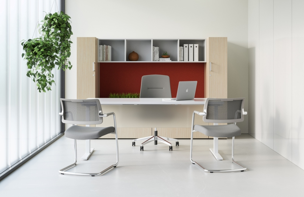 Preview of Calibrate Laminate Casegoods with Frosted Glass Modesty, Auburn Executive and Devens Side Seating