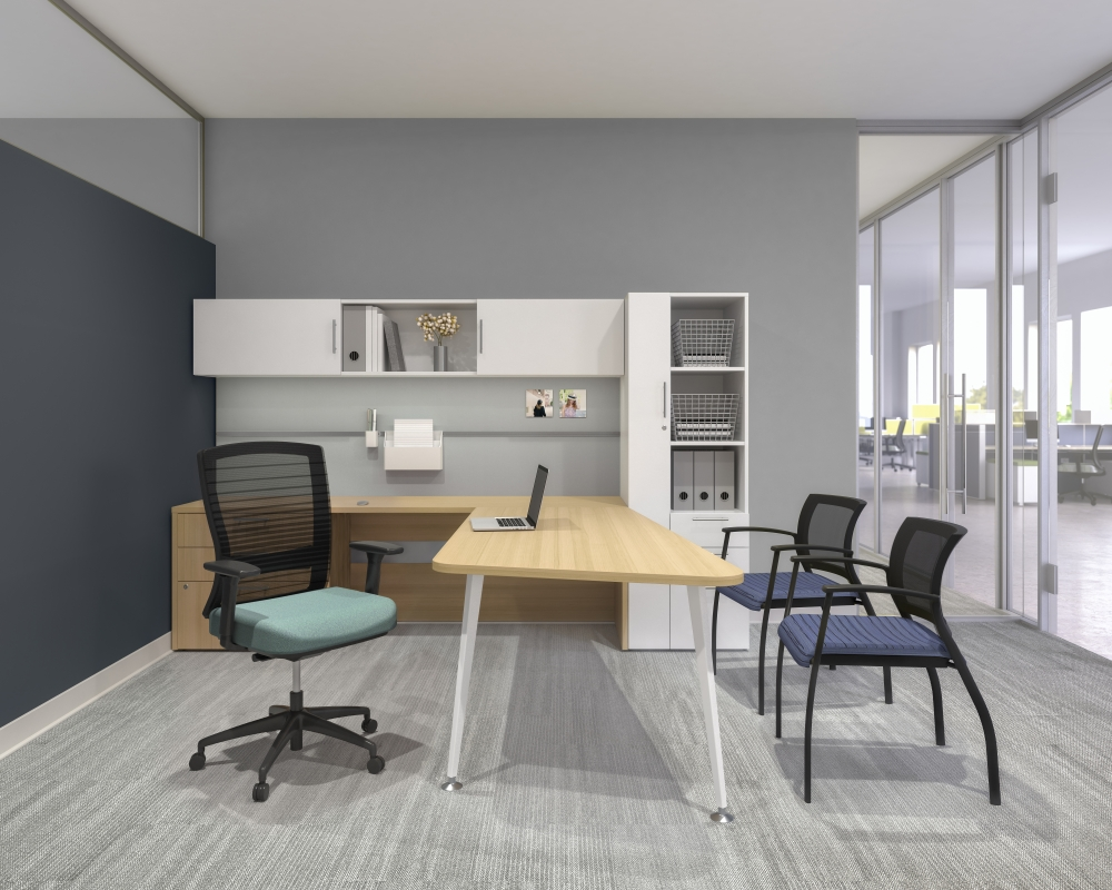 Preview of Calibrate L-Shaped Private Office with Natick and Grafton Seating