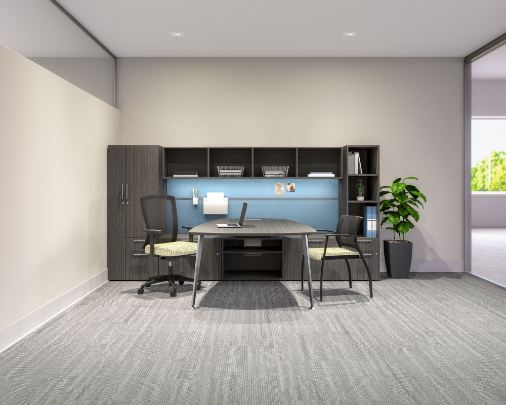 Preview of Calibrate Series Casegoods Private Office with Table Run off, Natick and Grafton Seating