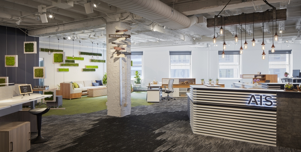 Preview of AIS Chicago Showroom at NeoCon 2018 with Custom Reception, LB Lounge and Rutland Perch Seating