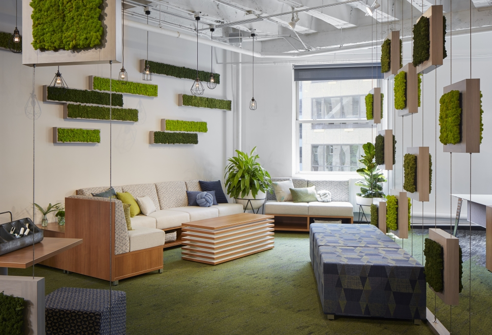 Preview of Chicago Showroom at NeoCon 2018 with LB Lounge Seating. Large Volker Cubes with feet and Small Volker Seating Cube on casters shown in foreground.