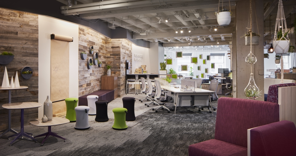 Preview of NeoCon 18 Chicago Showroom with LB Lounge, Day to Day Tables, Sulli Stools and Oxygen Desking with Natick Task Seating