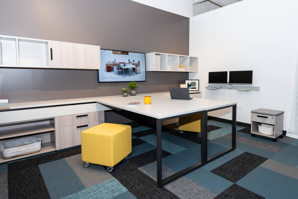 Preview of NeoCon 2021 Calibrate Community Shared Office with Sliding O-Leg tables, Tables together