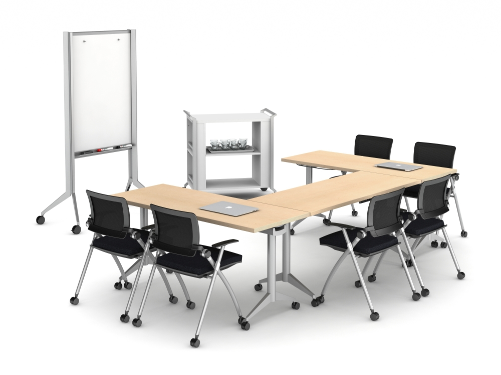 Preview of Day to Day Tables with Aluminum T Legs, Stow Seating, Hospitality Cart and Mobile Whiteboard
