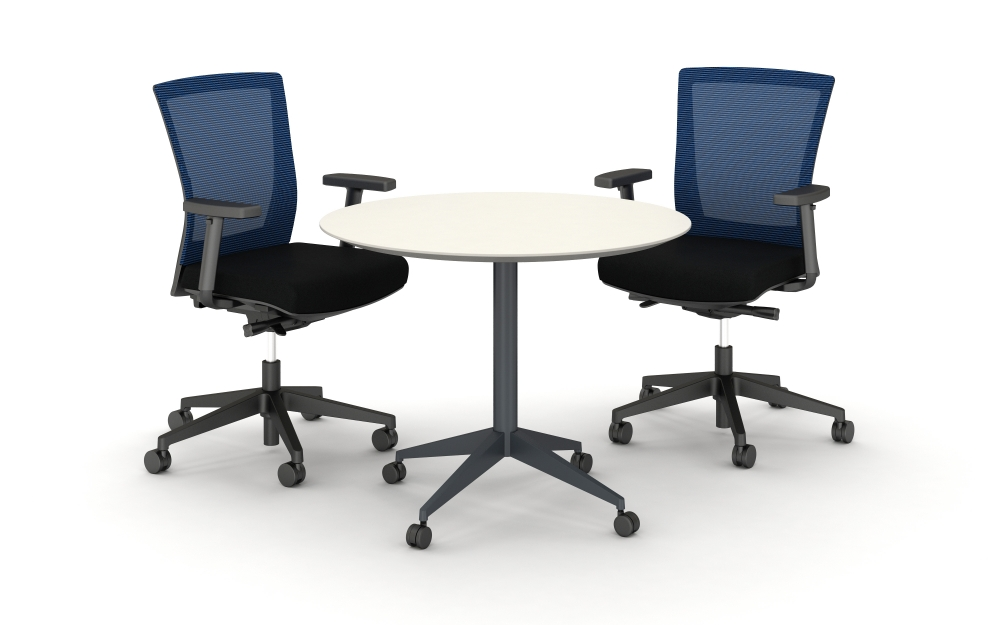 Preview of Day to Day Round Table with Reverse Knife Edge and X-base in Dark Tone Finish, shown with Upton Seating