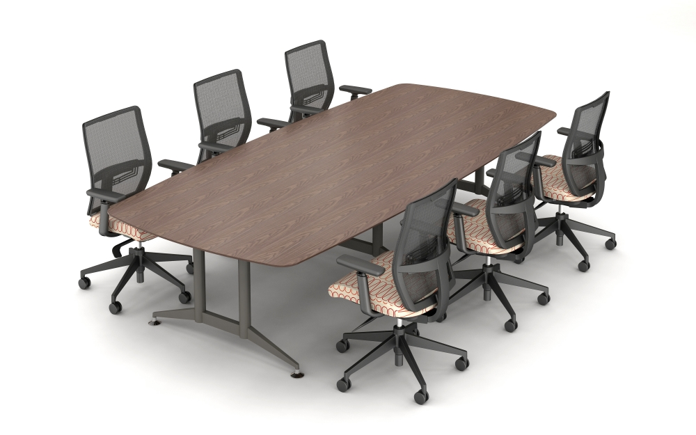 Preview of Day to Day Conference Table with Reverse Knife Edge and 3 Double Post Legs in Medium Tone with Devens Seating