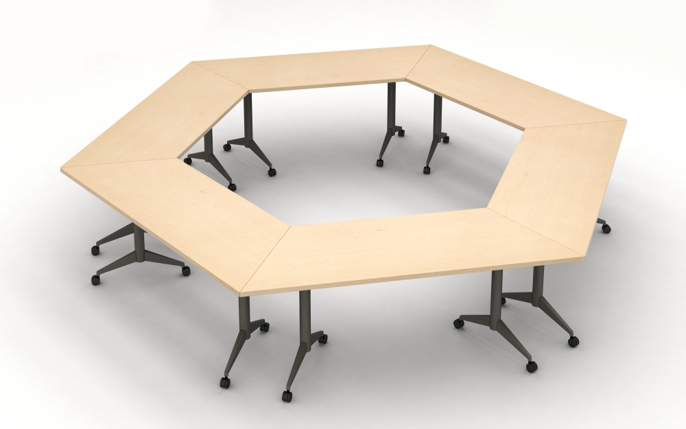 Preview of Day to Day Tables with Trapezoid Tops and Aluminum T-Legs on Casters configured in an Hexagon Shape.