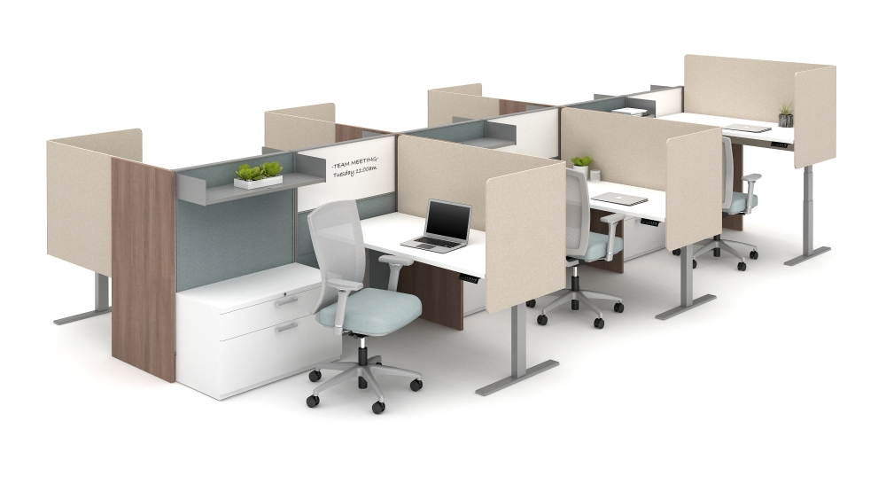 Preview of Divi with Gallery Panels, Height Adjustable Tables, L Wrap PET Screens, Natick Seating and Calibrate Storage