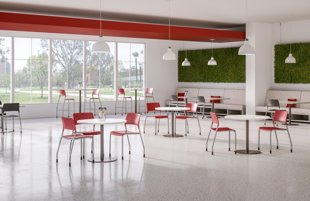Preview of Day-to-Day Cafe with Disc Base Round Tables and Pierce Side Seating