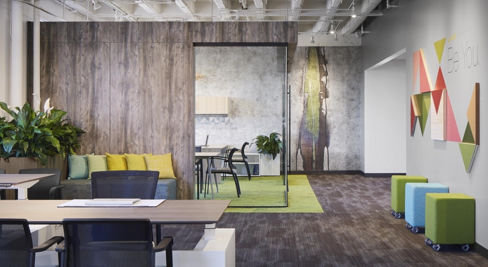 Preview of NeoCon 17 Jewel Box Corner office with Height Adjustable Calibrate Series Casegoods Desk, Upton Task Seating, Paxton and Grafton side seating
