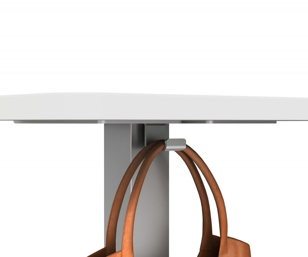 Preview of Hook Detail on Laptop Table with Cloud top and Metallic Silver base