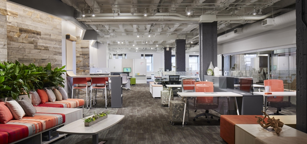Preview of NeoCon 17 Long Entrance View of LB Lounge, Universal Tables, Steel Storage, Natick Task Seating and Pierce Stools