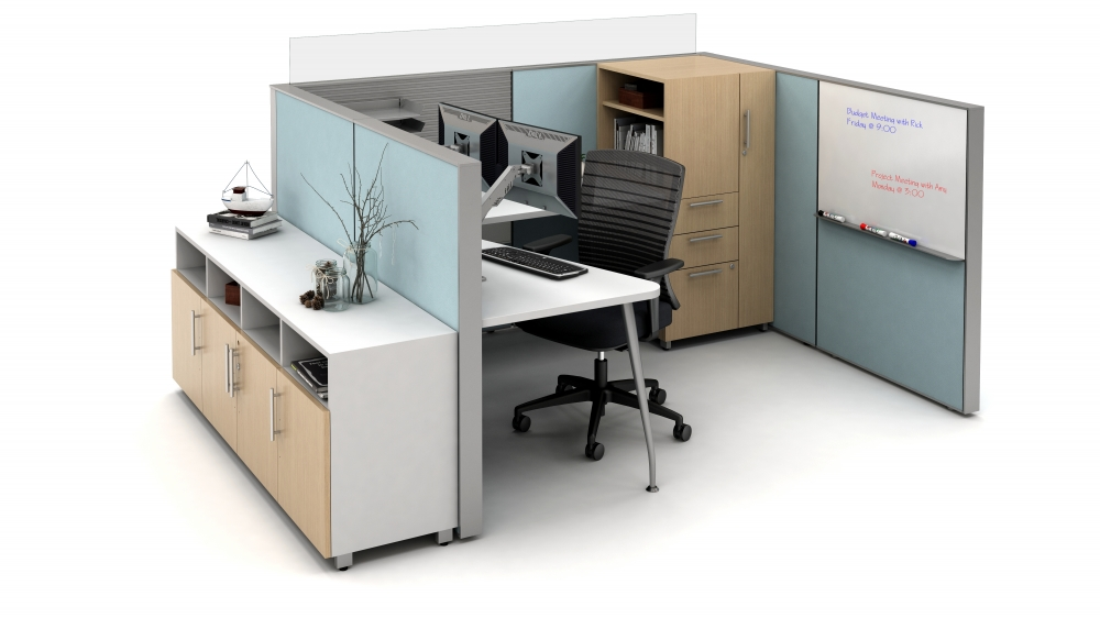 Preview of Matrix Open Plan Panel System with whiteboard insert, Calibrate Storage and Natick Seating