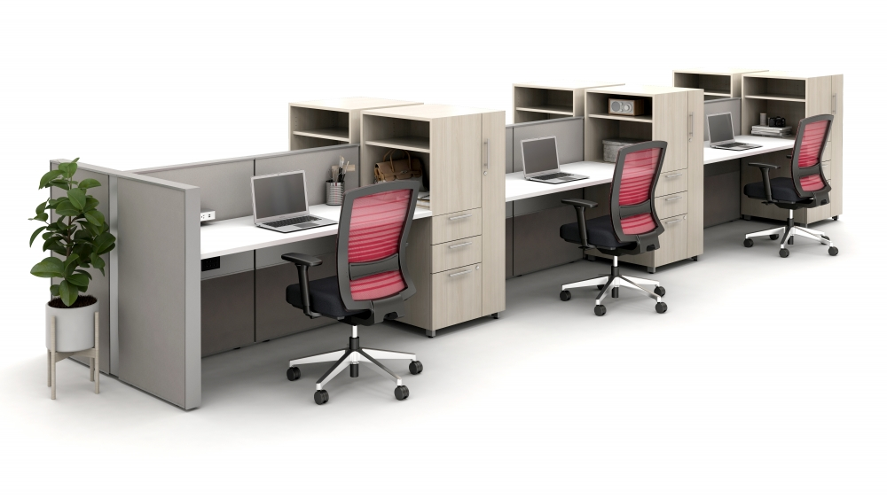 Preview of Matrix Spine Open Plan  Panel System with Calibrate Storage and Natick Seating
