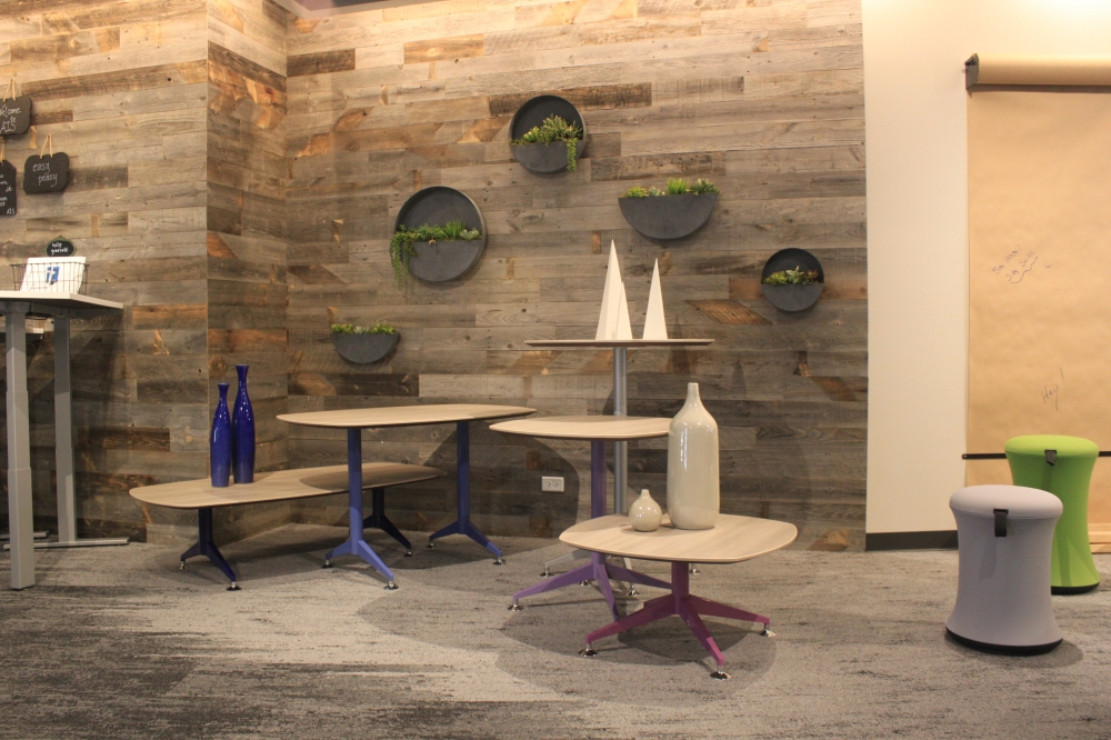 Preview of NeoCon 18 Day to Day Tables with Pebble Top and T legs.