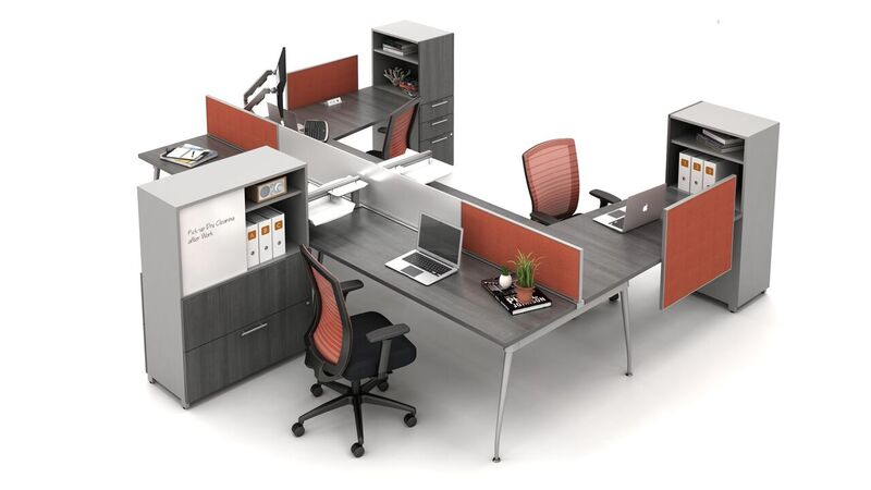 Preview of Oxygen Open Plan Benching Workstation with screens and Calibrate Storage