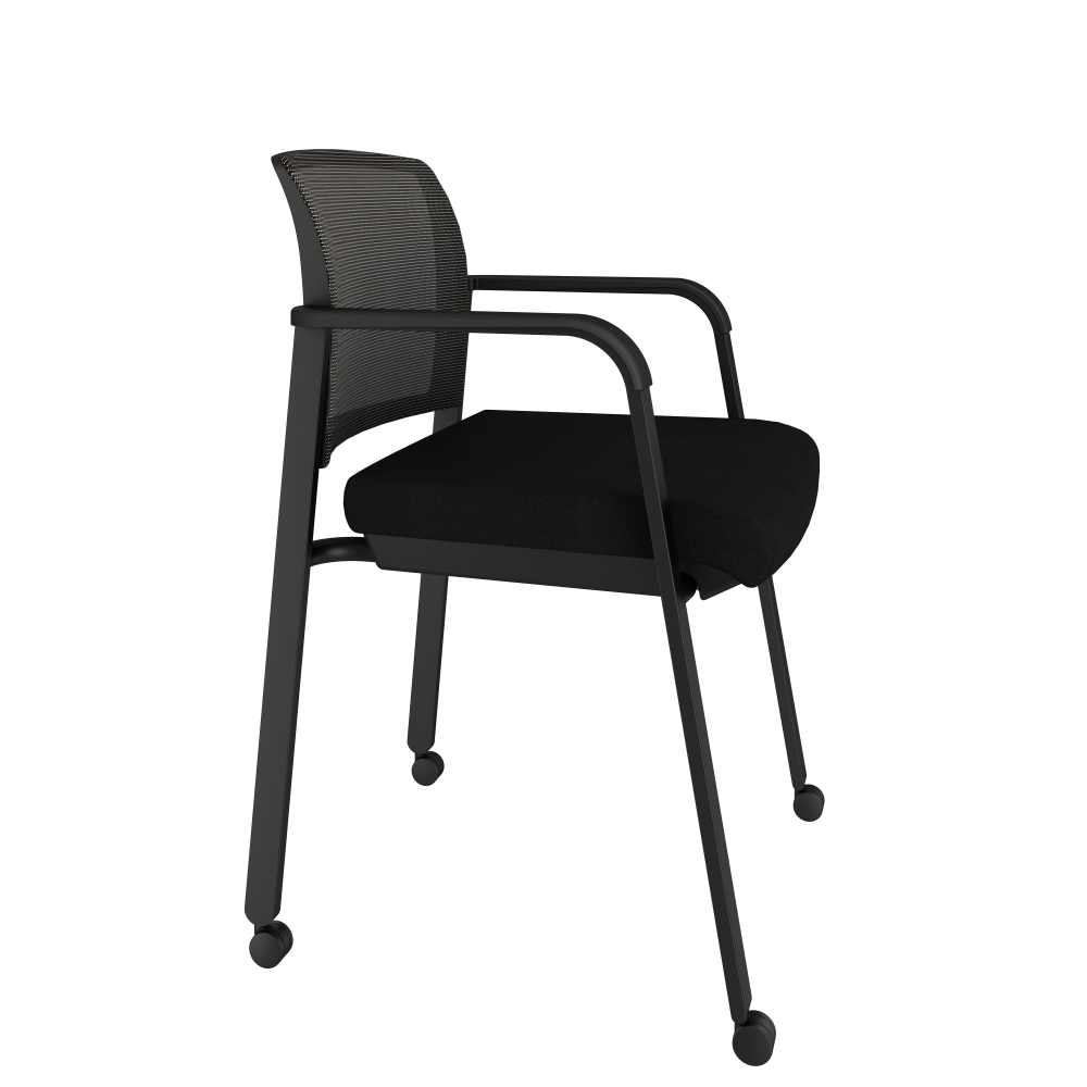 Preview of Paxton on Casters with Standard Black Fabric Side View