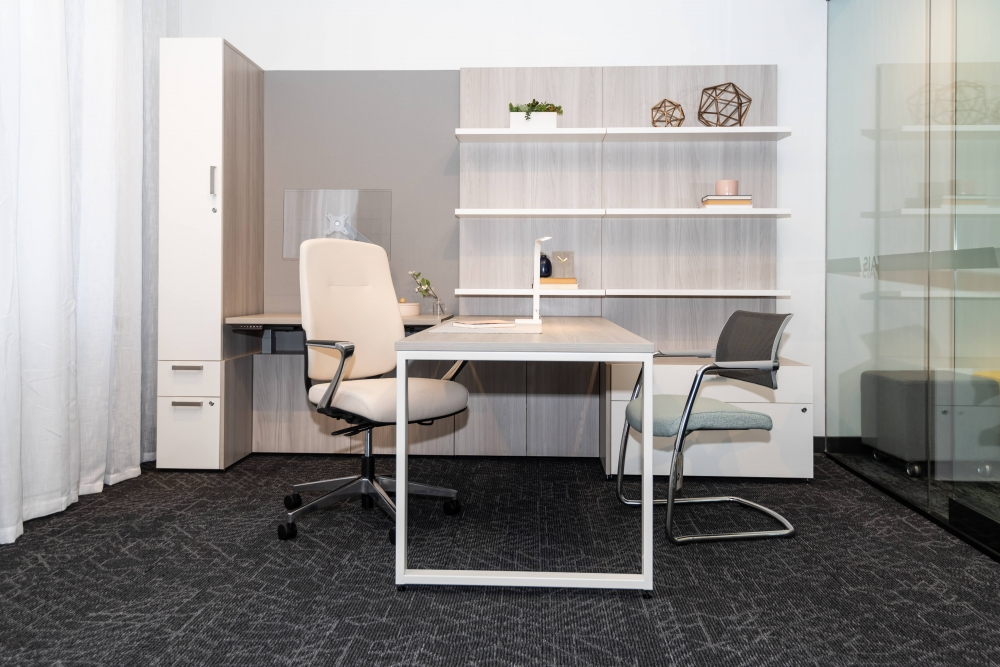 Preview of NeoCon 2021 Calibrate Casegoods Private Office with L Shelves, O Leg Desk and custom Height Adjustable Cantilevered worksurface