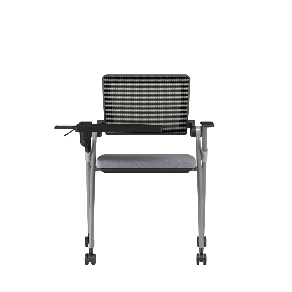 Preview of Stow Side Seating with standard grey fabric, black frame, casters, tablet, back view