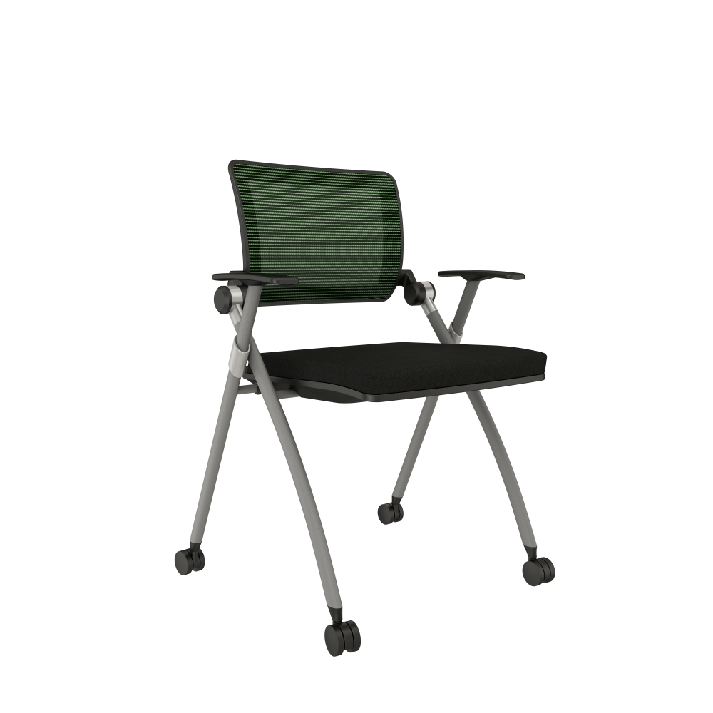 Preview of Stow with Green Mesh, Silver Frame, Casters and Standard Black Seat Cushion