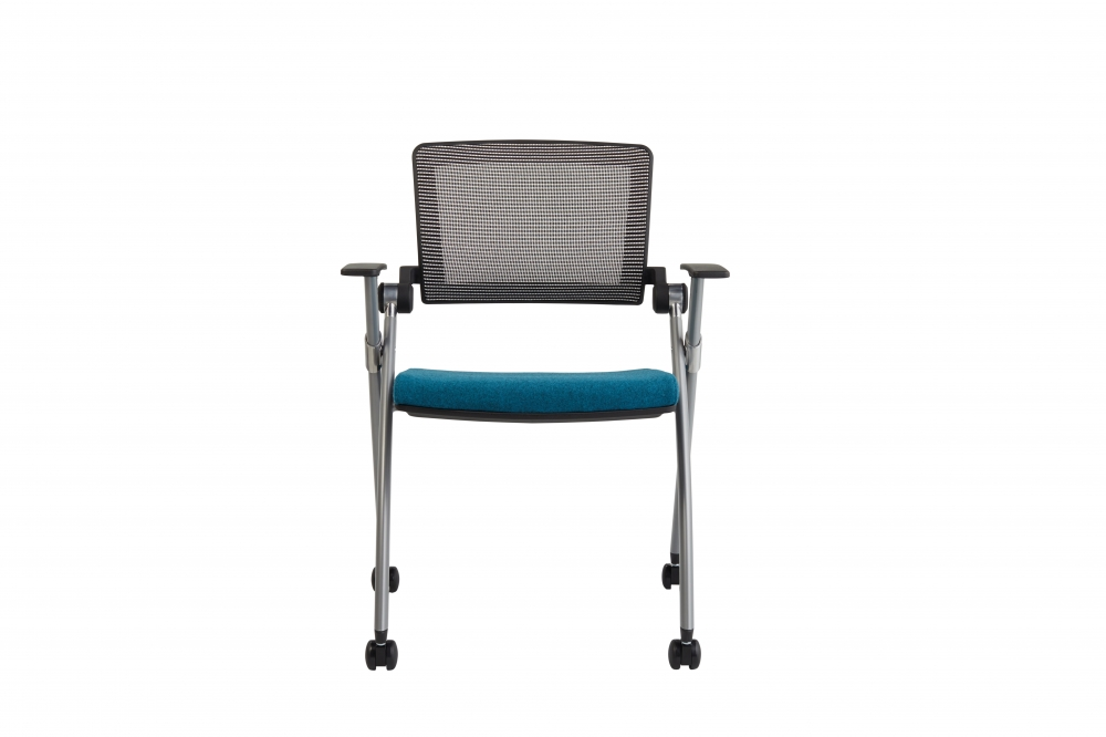 Preview of Stow Seating on casters with Blue Mesh, Camira Blazer Abertay seat, front view