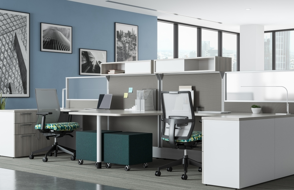 Preview of Divi Linear Open Plan Workstations with linear trim, keytop worksurface, Lim Light, with Devens Task Seating