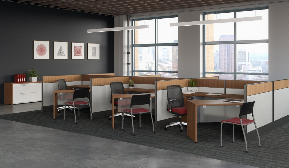 Preview of Divi with linear trim, 120 degree worksurfaces and Bolton and Pierce seating