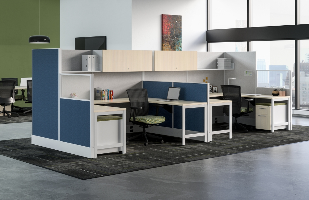 Preview of Divi Linear Open Plan Panel System with linear trim, Dual Workstation with Upton Seating