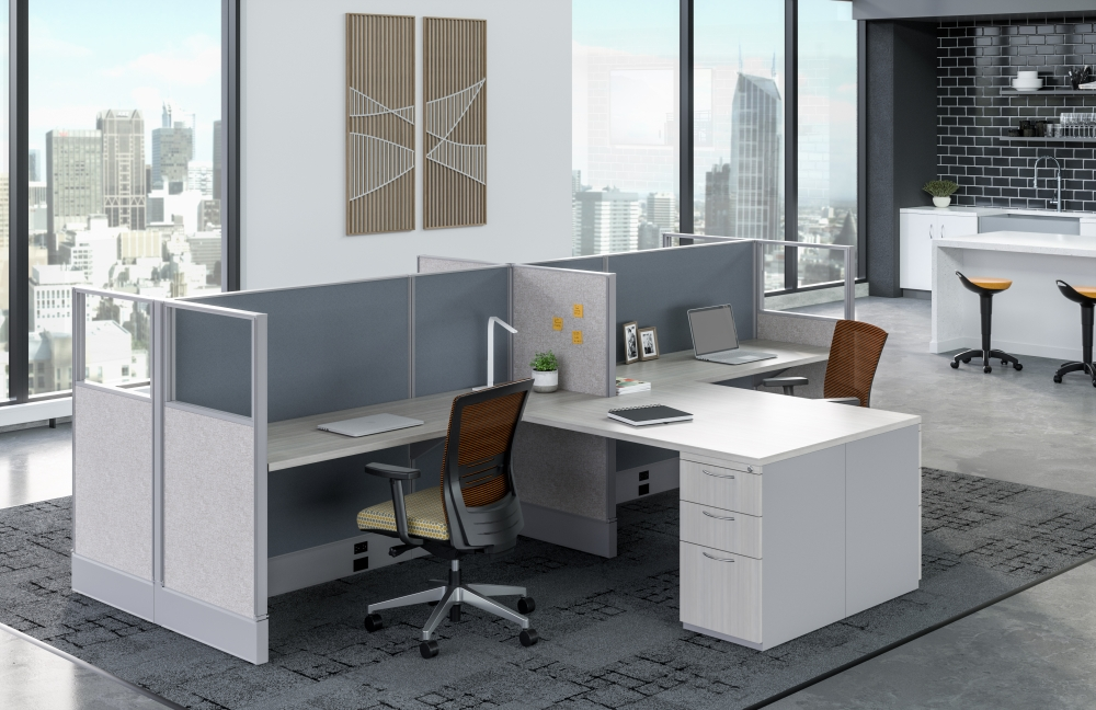 Preview of Divi Linear Open Plan Panel System Shared Workstations with linear trim, Upton Seating and Rutland Stools in background