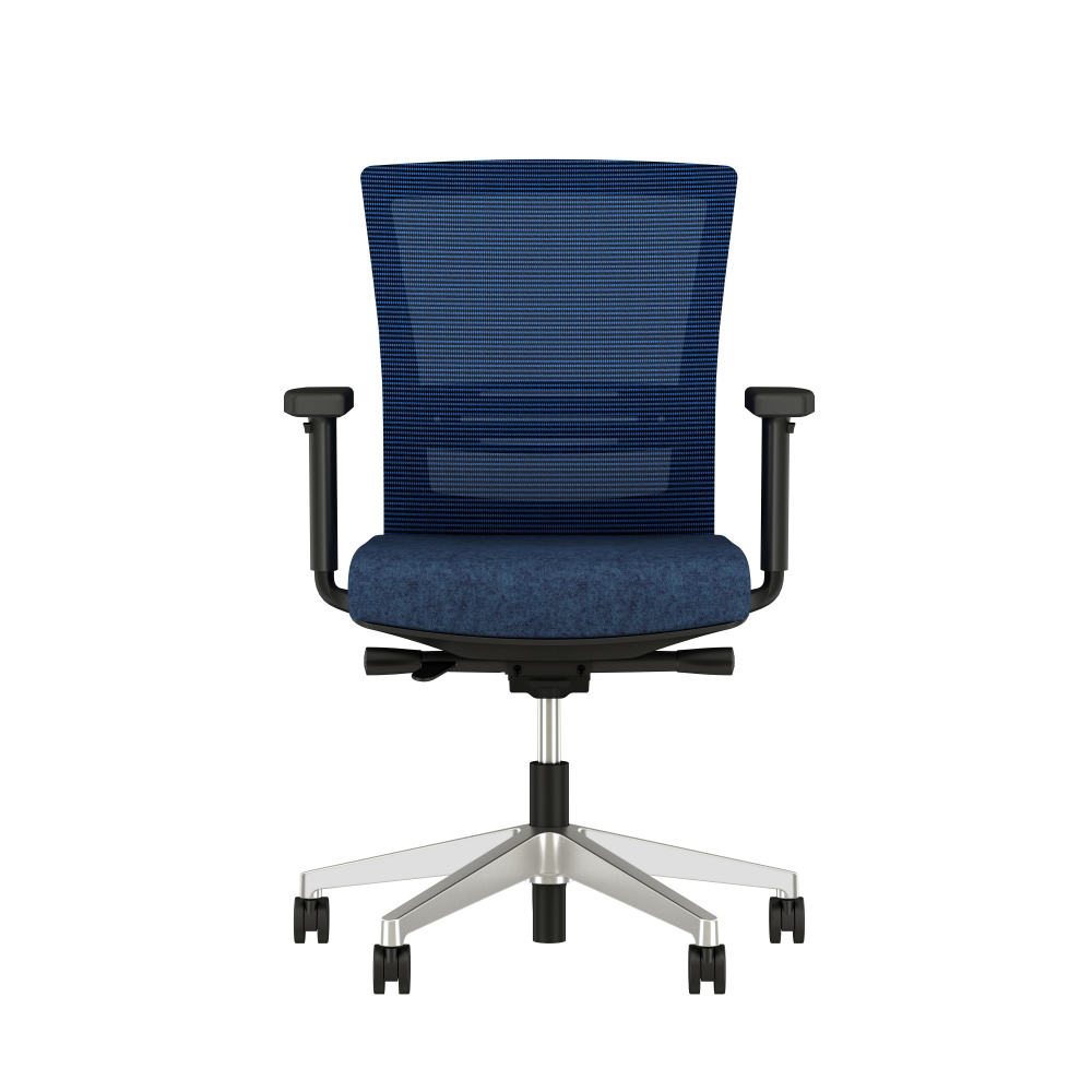 Preview of Upton with lumbar and aluminum base, black frame, blue-black stripe mesh and Camira Newcastle seat, front view