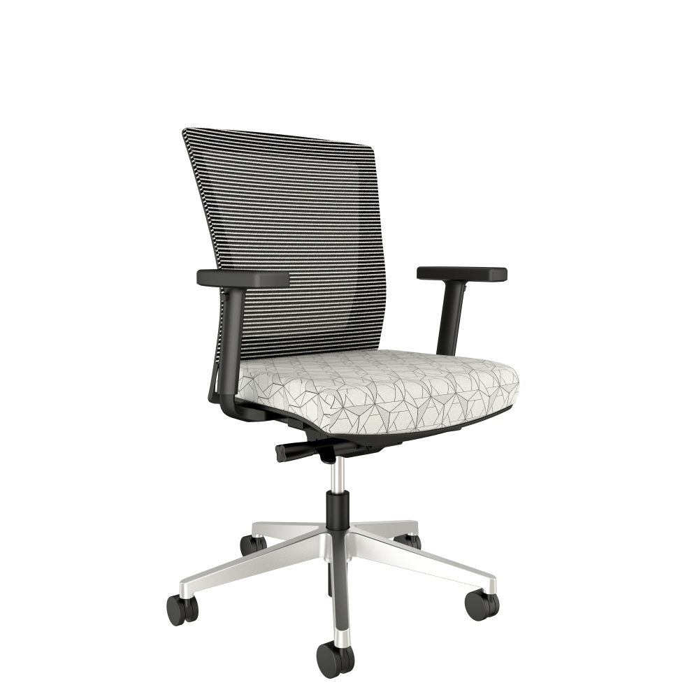Preview of Upton with Aluminum base, white-black mesh with HBF Folded Lines Chalk Black Fabric Seat
