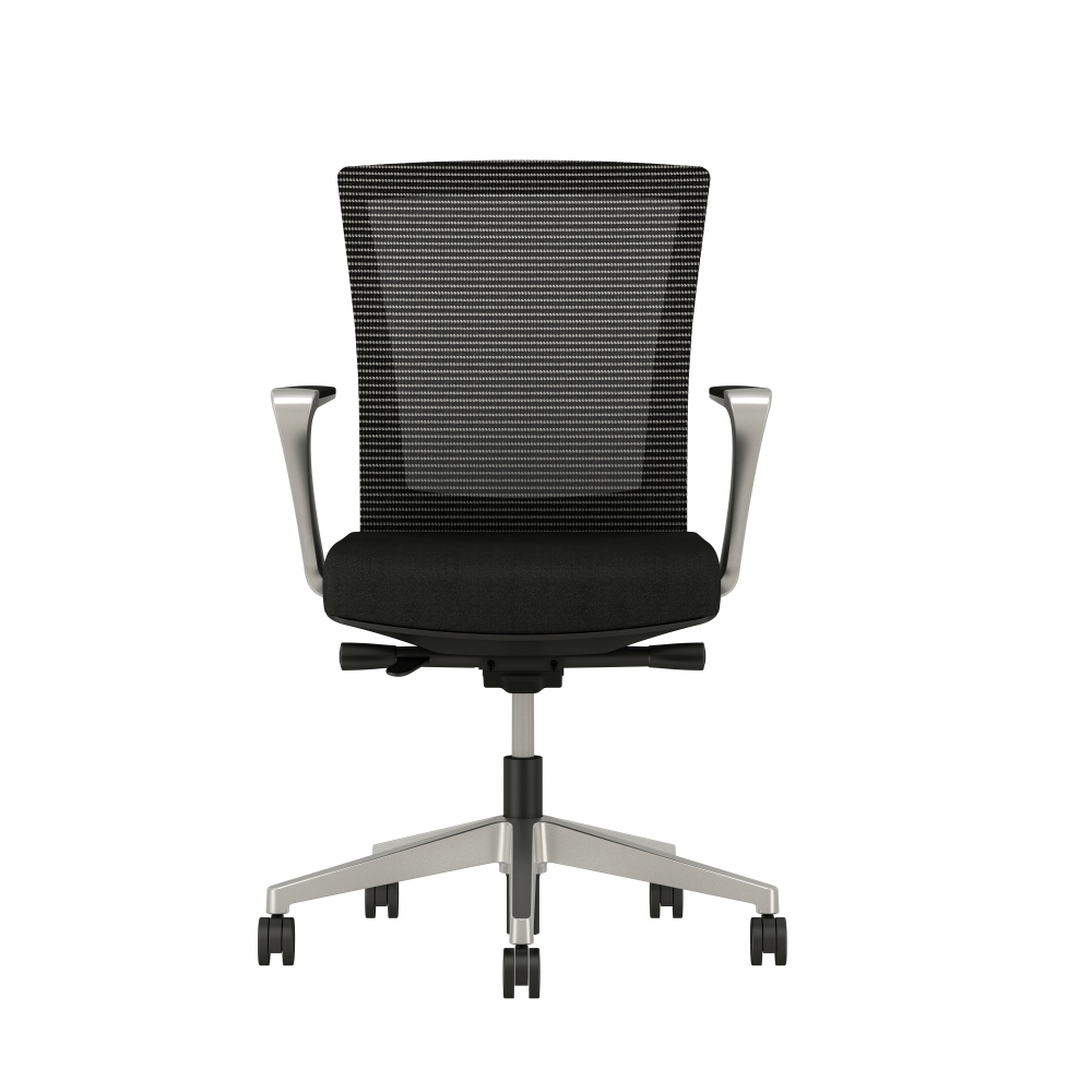 Preview of Upton with Aluminum Base, Fixed Arms, Black frame, Black-black striped mesh with Alta Mirage Upholstery in Black, front view