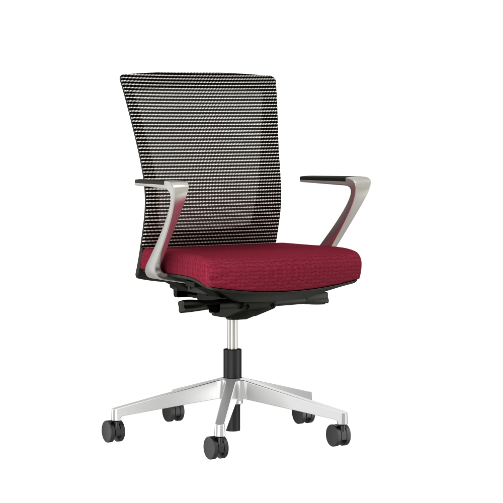 Preview of Upton with Aluminum Base, Fixed Arms, Black frame, white-black striped mesh with Alta Sway Upholstery in and Shout, 3/4 view