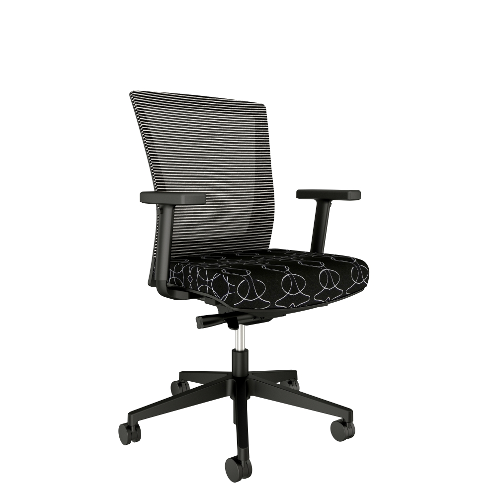 Preview of Upton Task Seating with Black Base and Frame, White-Black Mesh with Luna Meszznine Black Tie Seat
